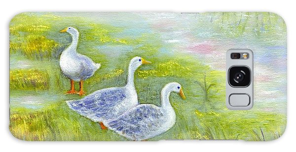 Geese At Sunset Galaxy Case