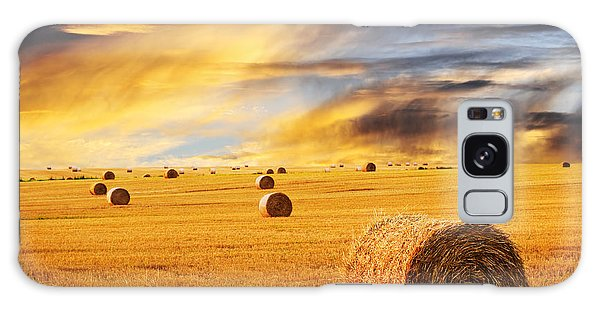 Golden Sunset Over Farm Field With Hay Bales Galaxy Case