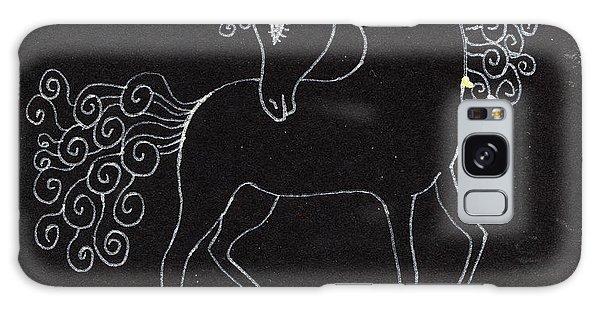 Pasture Galaxy Case - Horse Drawing by Angel Ciesniarska