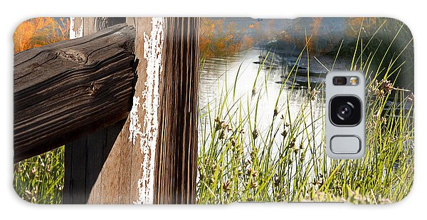 Landscape With Fence Pole Galaxy Case by Gunter Nezhoda