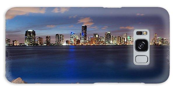 Miami Skyline At Night Galaxy Case by Carsten Reisinger
