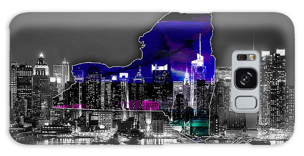 New York Map And Skyline Watercolor Galaxy Case