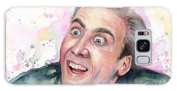 Celebrities Galaxy Case - Nicolas Cage You Don't Say Watercolor Portrait by Olga Shvartsur
