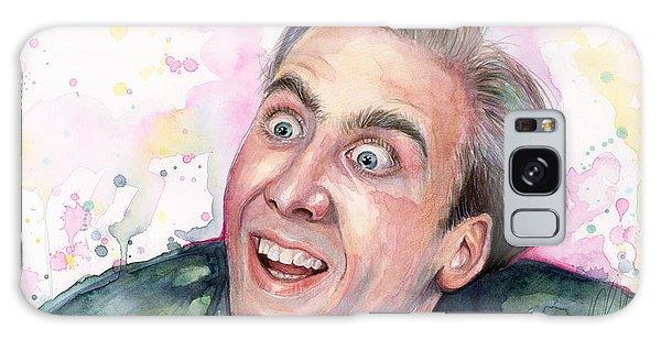 Celebrity Galaxy Case - Nicolas Cage You Don't Say Watercolor Portrait by Olga Shvartsur
