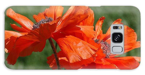 Orange Poppies Galaxy Case