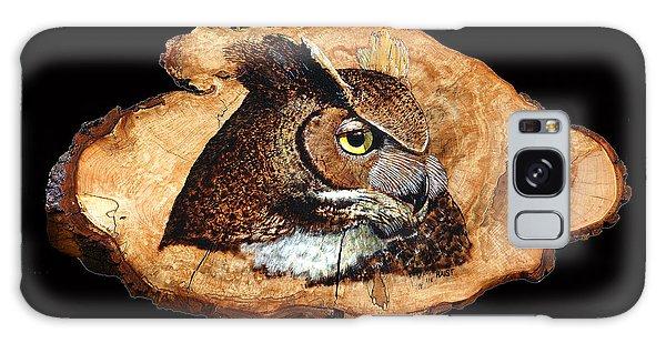 Owl On Oak Slab Galaxy Case by Ron Haist