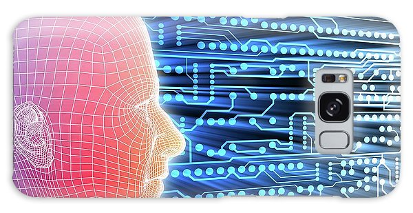 Contour Galaxy Case - Printed Circuit Board And Wireframe Head by Alfred Pasieka