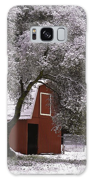 Snowy Red Barn Galaxy Case