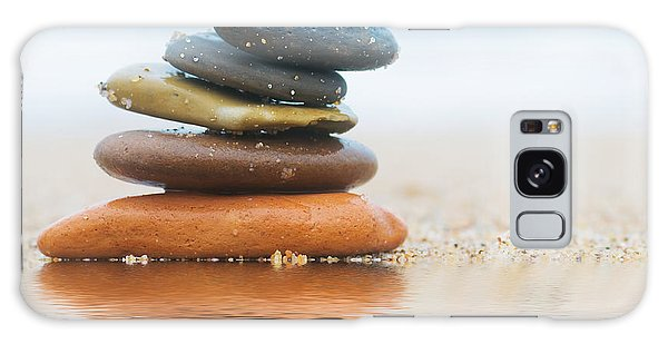 Sea Stacks Galaxy Case - Stack Of Beach Stones On Sand by Michal Bednarek
