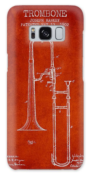 Trombone Galaxy S8 Case - Trombone Patent From 1902 - Red by Aged Pixel