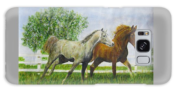 Two Horses Running By White Picket Fence Galaxy Case