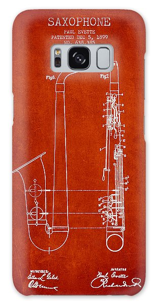 Saxophone Patent Drawing From 1899 - Red Galaxy Case by Aged Pixel