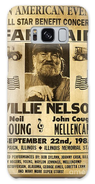 Neil Young Galaxy S8 Case - Vintage Willie Nelson 1985 Farm Aid Poster by John Stephens