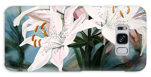 White Lilies Galaxy Case by Laurie Rohner