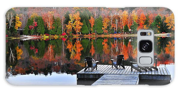 Wooden Dock On Autumn Lake Galaxy Case