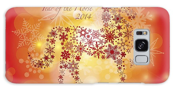 2014 Happy New Year Of The Horse With Snowflakes Pattern Galaxy Case
