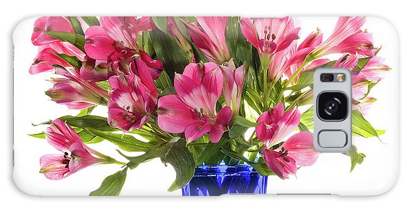 Vase Of Flowers Galaxy Case - Alstroemeria Flowers Against White by Panoramic Images
