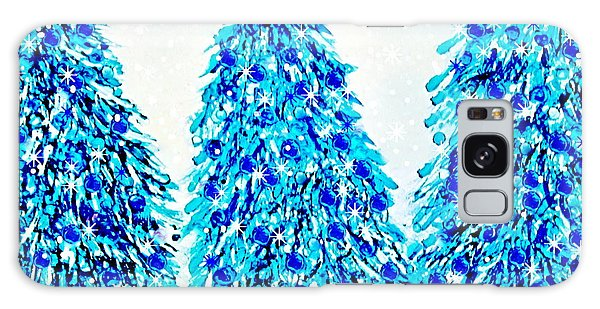 3 Blue Christmas Trees Alcohol Inks  Galaxy Case