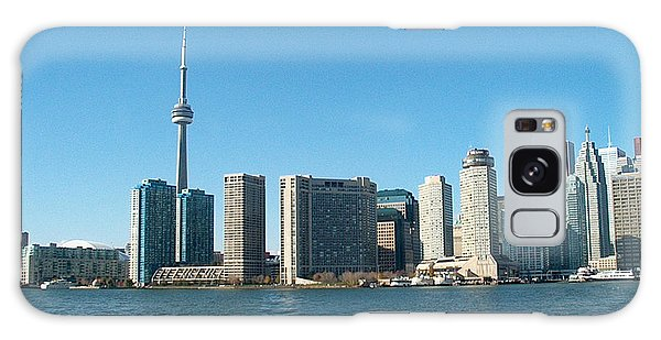 Cn Tower Toronto View From Centre Island Downtown Panorama Improvised With Graphic Artist Tools Pain Galaxy Case by Navin Joshi