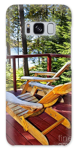 Cottage Galaxy Case - Forest Cottage Deck And Chairs by Elena Elisseeva