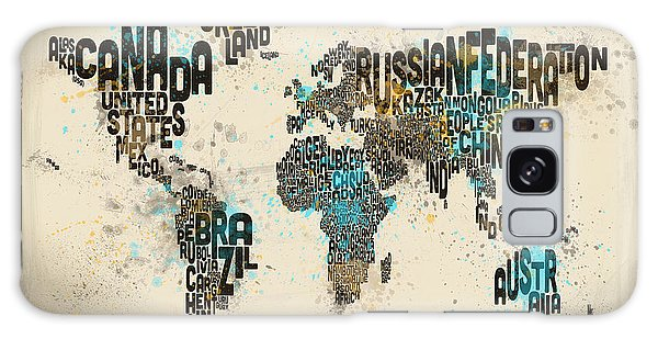 Text Map Galaxy Case - Paint Splashes Text Map Of The World by Michael Tompsett