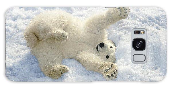 Winter Galaxy Case - Polar Bear Cub Playing In Snow Alaska by Mark Newman