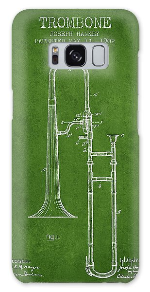 Trombone Galaxy S8 Case - Trombone Patent From 1902 - Green by Aged Pixel
