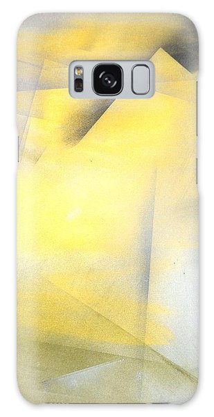 Decorative Galaxy Case - Raise The Bar - Grey And Yellow Abstract Art Painting by CarolLynn Tice