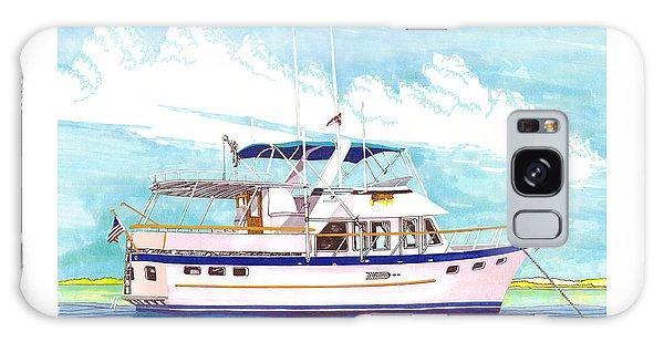 Motor Yacht Galaxy Case - 37 Foot Marine Trader 37 Trawler Yacht At Anchor by Jack Pumphrey