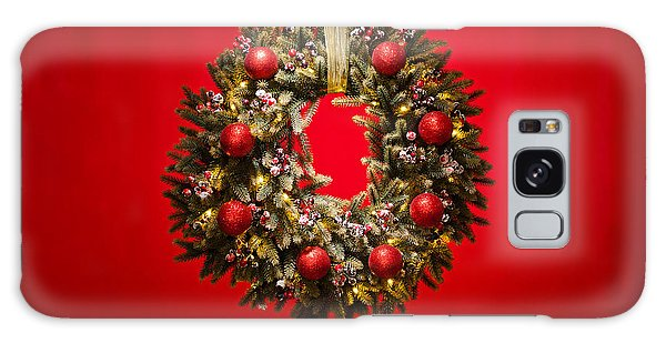 Advent Wreath Over Red Background Galaxy Case