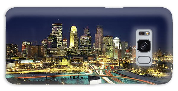 Buildings Lit Up At Night In A City Galaxy Case