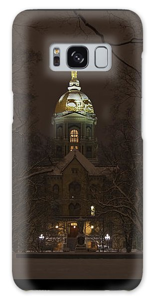 Notre Dame Golden Dome Snow Poster Galaxy Case