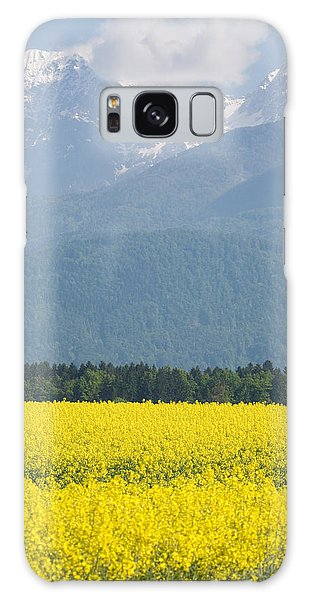 rapeseed field in Brnik with Kamnik Alps in the background Galaxy Case