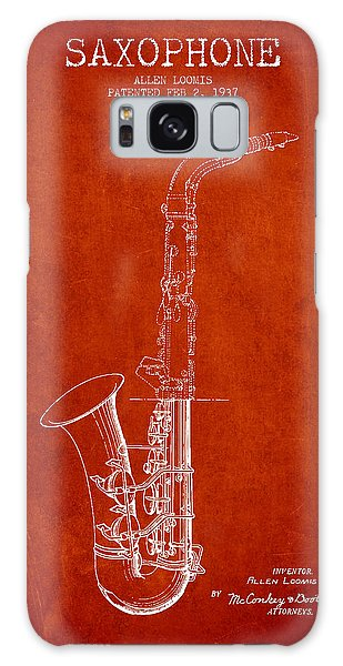 Saxophone Patent Drawing From 1937 - Red Galaxy Case by Aged Pixel