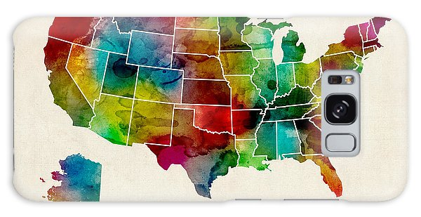 United States Watercolor Map Galaxy Case