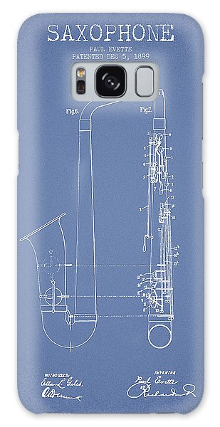 Saxophone Patent Drawing From 1899 - Light Blue Galaxy Case by Aged Pixel