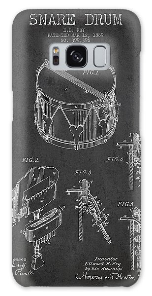 Drum Galaxy S8 Case - Vintage Snare Drum Patent Drawing From 1889 - Dark by Aged Pixel