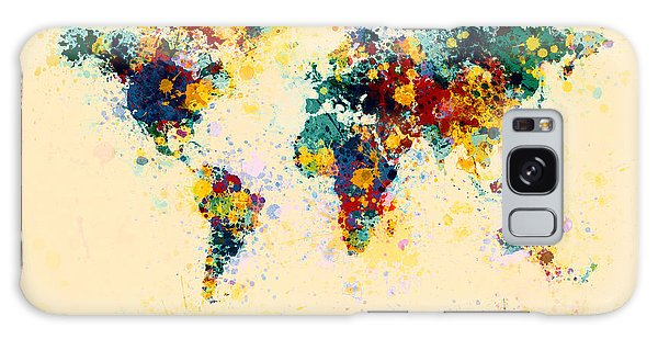 City Map Galaxy Case - World Map Paint Splashes by Michael Tompsett