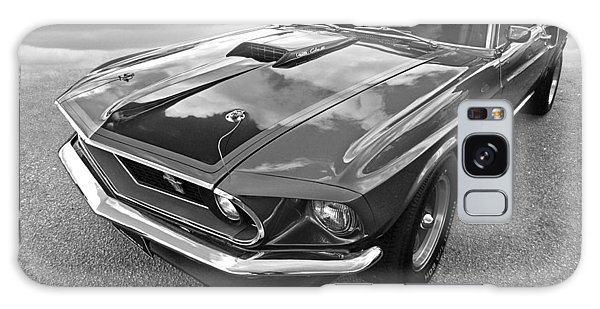 428 Cobra Jet Mach1 Ford Mustang 1969 In Black And White Galaxy Case