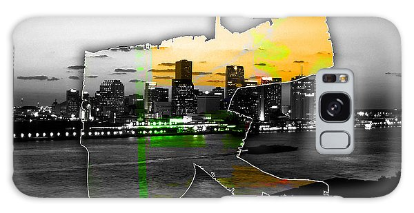 New Orleans Map And Skyline Watercolor Galaxy Case by Marvin Blaine