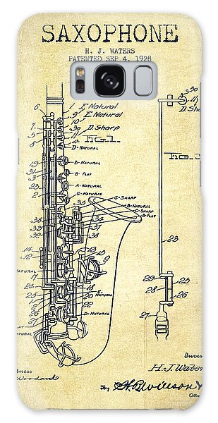 Saxophone Galaxy S8 Case - Saxophone Patent Drawing From 1928 by Aged Pixel