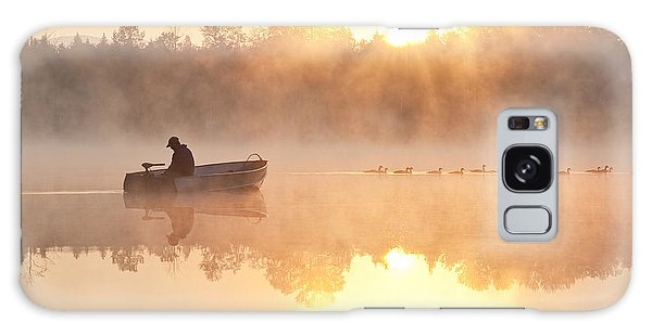Sunrise In Fog Lake Cassidy With Fisherman In Small Fishing Boat Galaxy Case