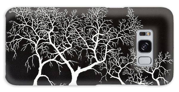 5 Trees In Black And White Galaxy Case
