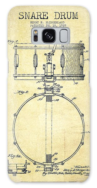 Drum Galaxy S8 Case - Snare Drum Patent Drawing From 1939 - Vintage by Aged Pixel