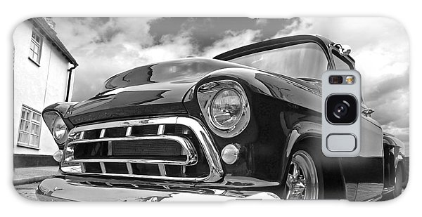 57 Stepside Chevy In Black And White Galaxy Case by Gill Billington