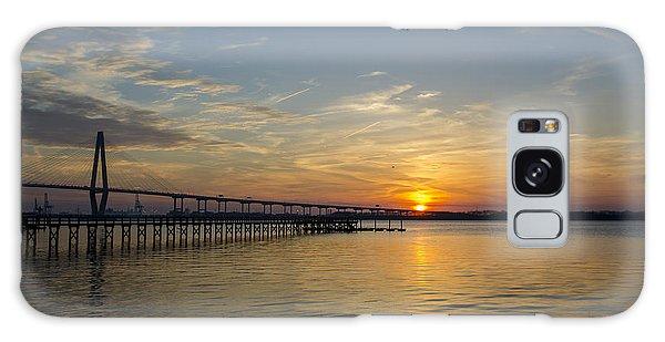 Arthur Ravenel Bridge Tranquil Sunset Galaxy Case by Dale Powell