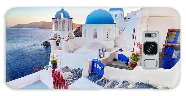 Oia Town On Santorini Greece Galaxy Case