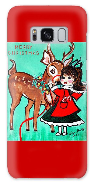 Little Girl With Reindeer Galaxy Case