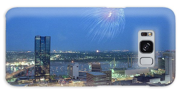 7403 Toledo Twilight Ohio Fireworks Over Maumee River Galaxy Case
