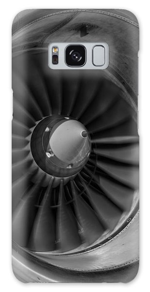 757 Engine Black And White Galaxy Case